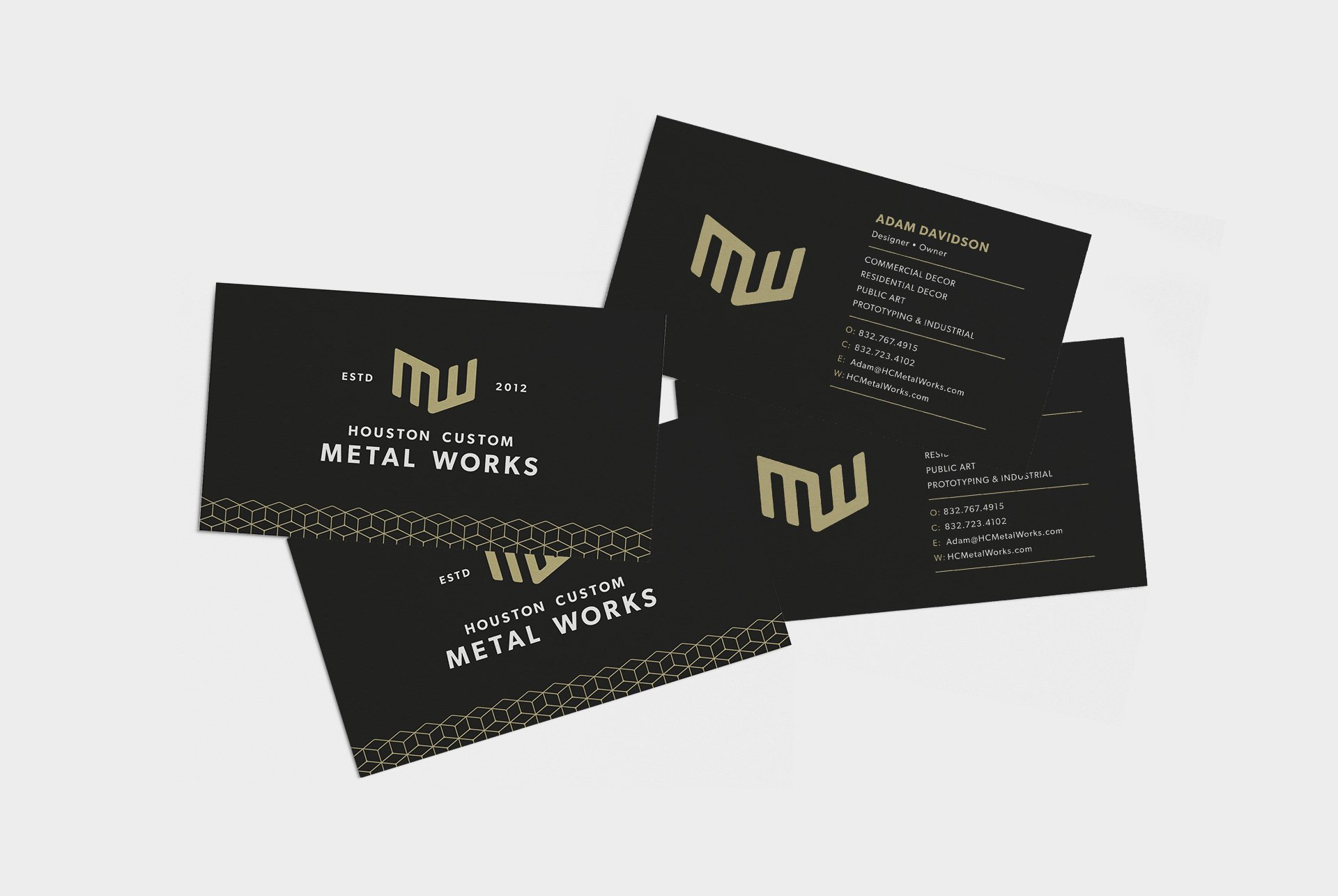 Houston Custom Metal Works Business Card Designs