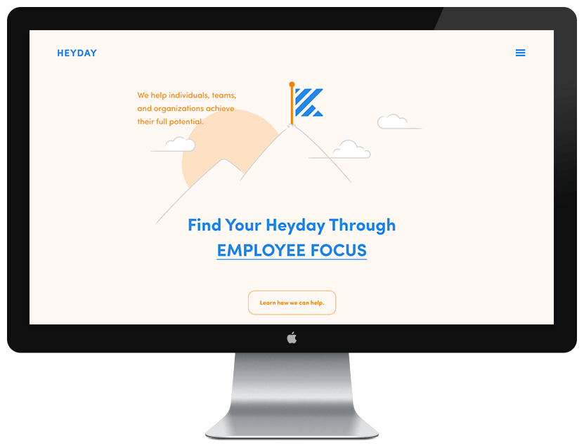 heyday website on apple monitor