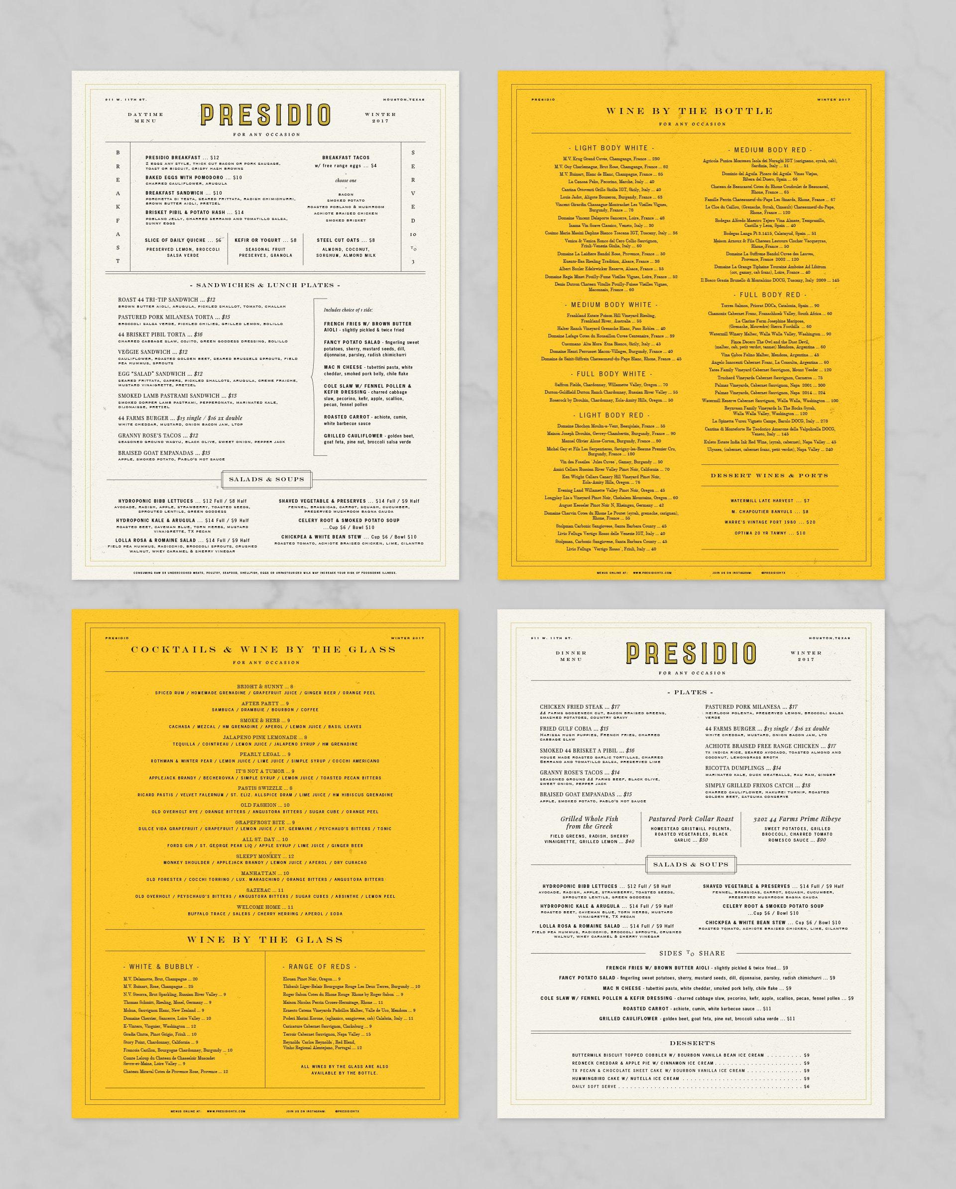 Presidio Menu Design