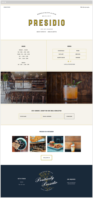 Presidio Website Design Sample
