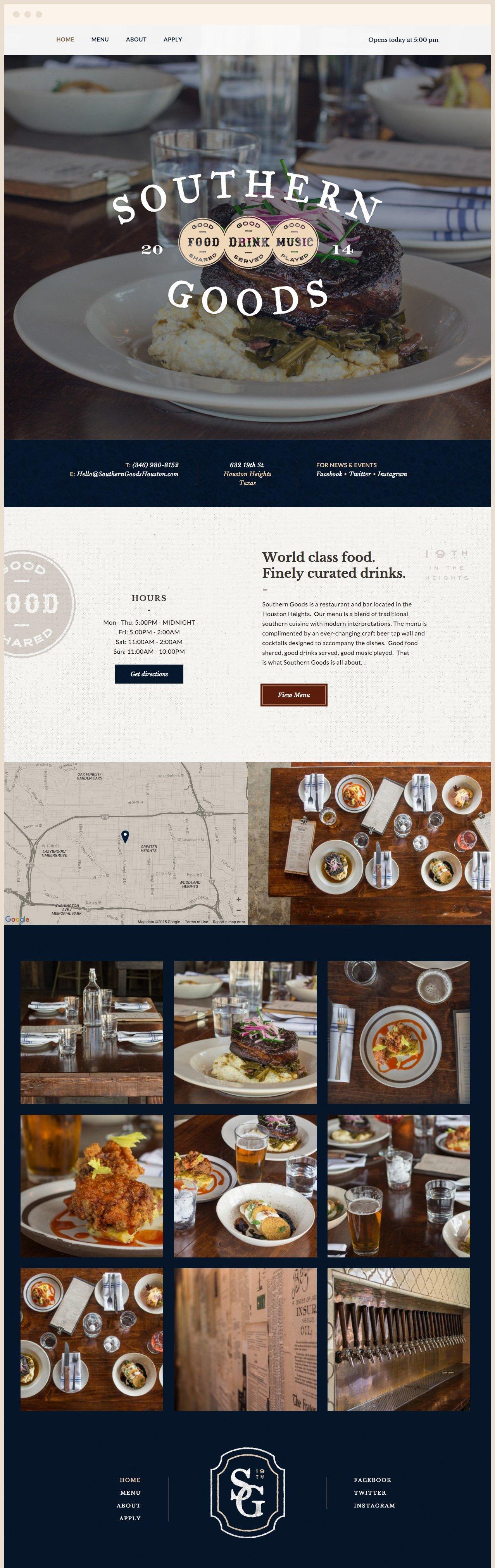 Southern Goods Website Design