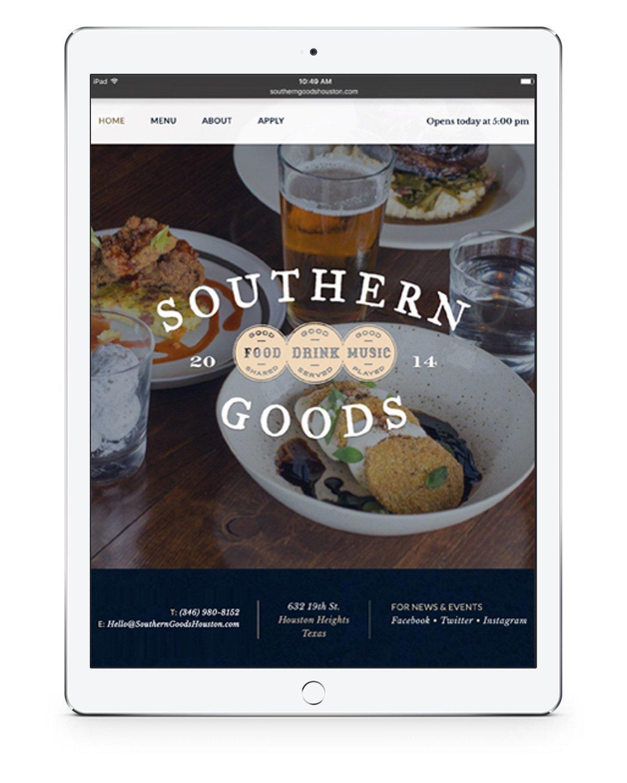 Southern Goods Tablet Website Design